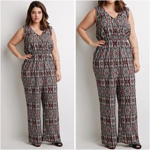 Forever 21+ Tribal Print Jumpsuit 3X